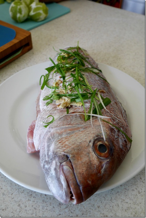Fresh snapper with ginger and shallots ready for the steamer