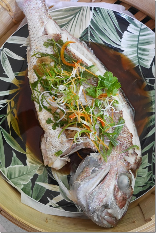 Steamed snapper in special soy sauce