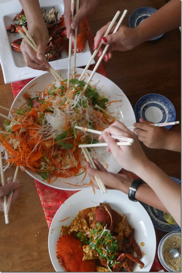 Tossing yee sang at Jo & John's Chinese New Year feast 2015