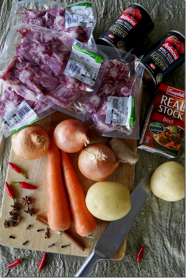 Ingredients for Indonesian Oxtail Soup
