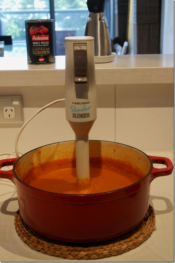 Use hand blender to process vegetables to a smooth, creamy puree