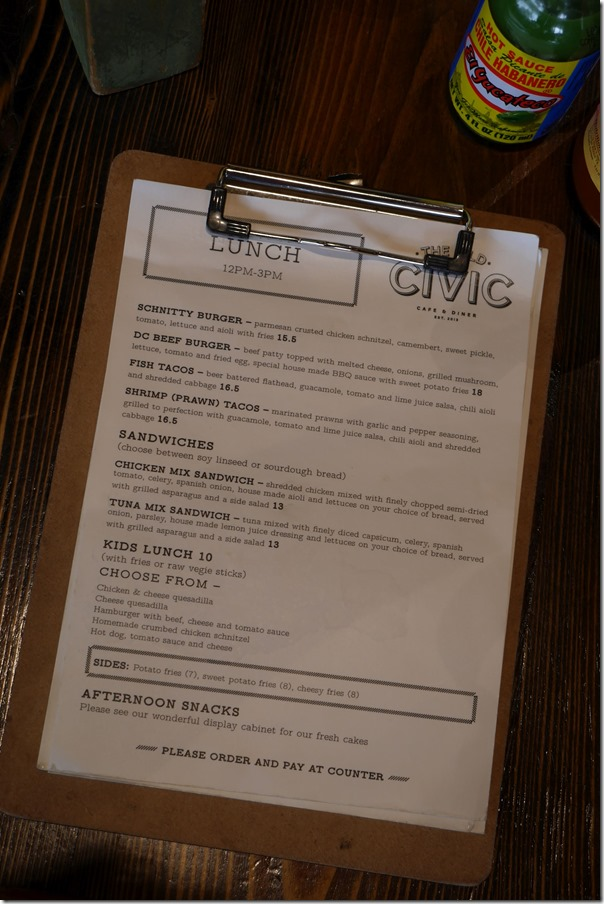 The menu, The Old Civic, Frenchs Forest