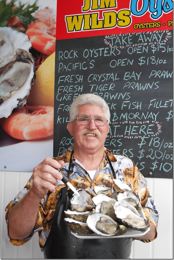 The man himself ~Jim Wild and his fresh Pacific oysters
