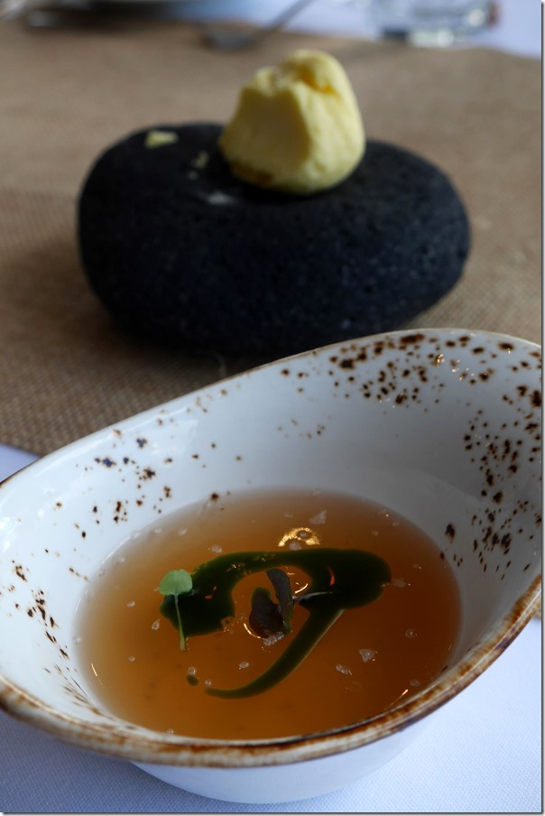 Amuse bouche ~ Gaspacho jelly and basil oil