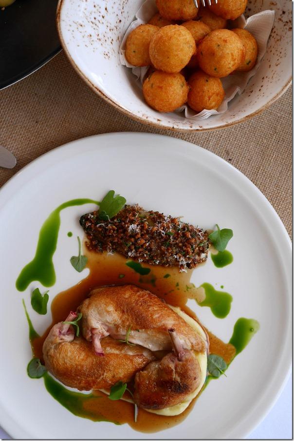 Roast spatchcock, peanut & Parmesan crumbed endive, creamy potato, roast garlic $45