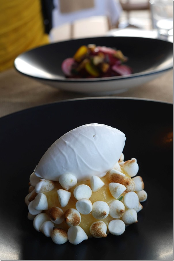 Lemon curd with lemon thyme, coconut genoise, torched meringue and coconut sorbet $19