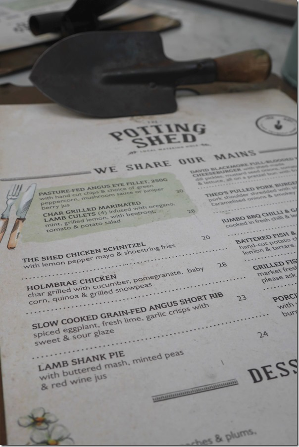 The menu, The Potting Shed