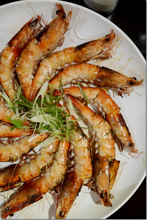 Grilled king prawns with herb butter