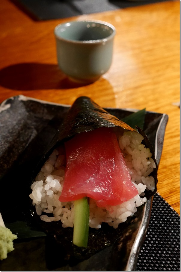Hand roll ~ tuna, avocado, cucumber $7.50