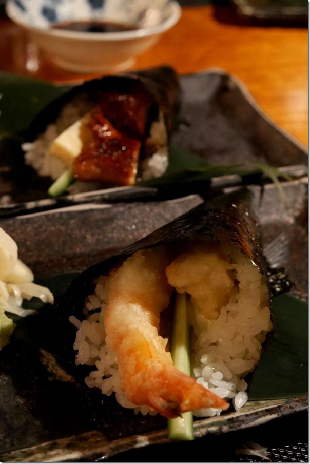 Hand roll ~ Prawn tempura, cucumber & Japanese mayonnaise $7.50