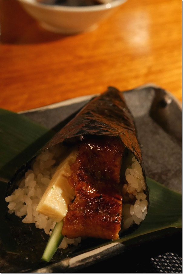 Hand roll ~ Grilled eel, cucumber, omelette, sweet soy $7