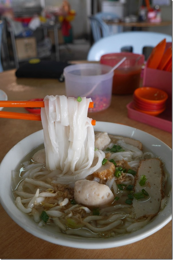 Rice noodles with fish balls and fish cake RM6 / A$2.10