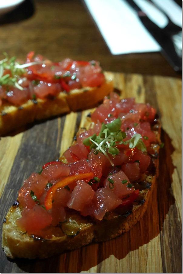 Yellow fin tuna, fresh chilli, EVOO crostini $16