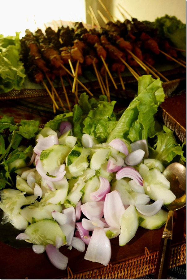 Satay veges ~ Spanish onions and cucumber