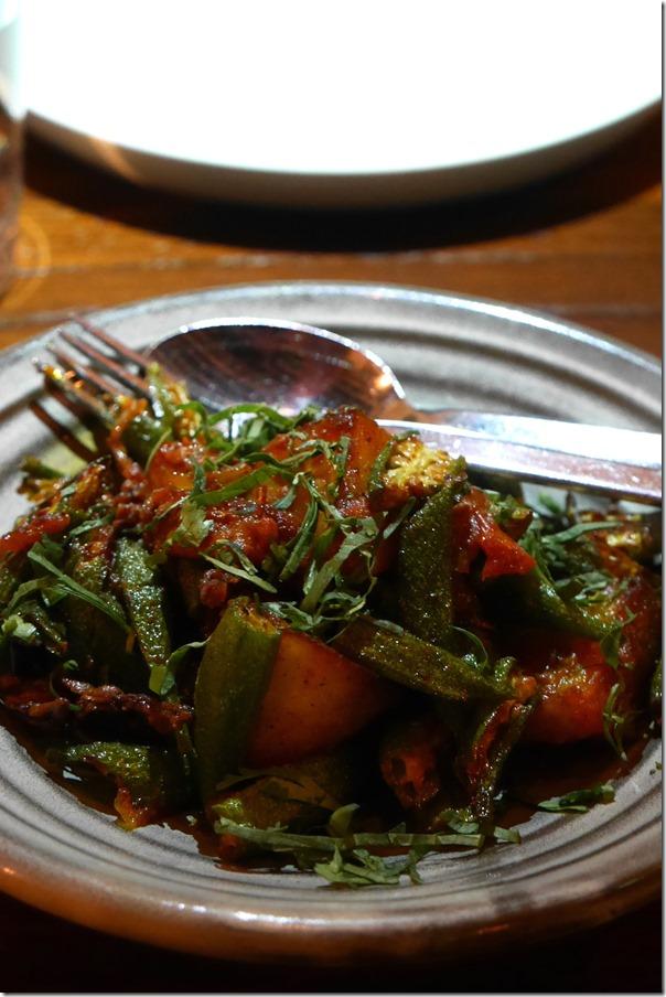Dry curry of okra, potato and Kashmiri chilli $16