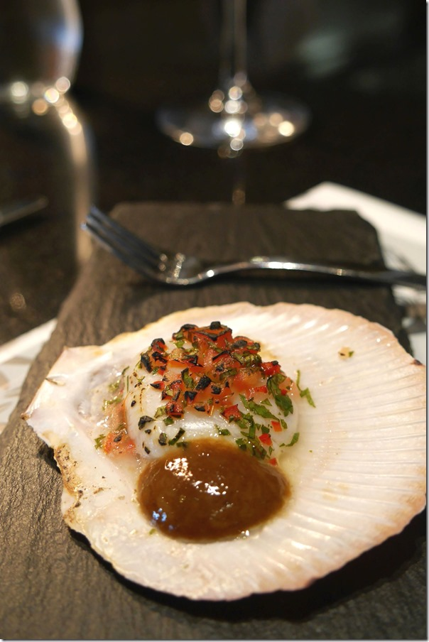 Ceviche of Hervey Bay scallop, black garlic mayonnaise