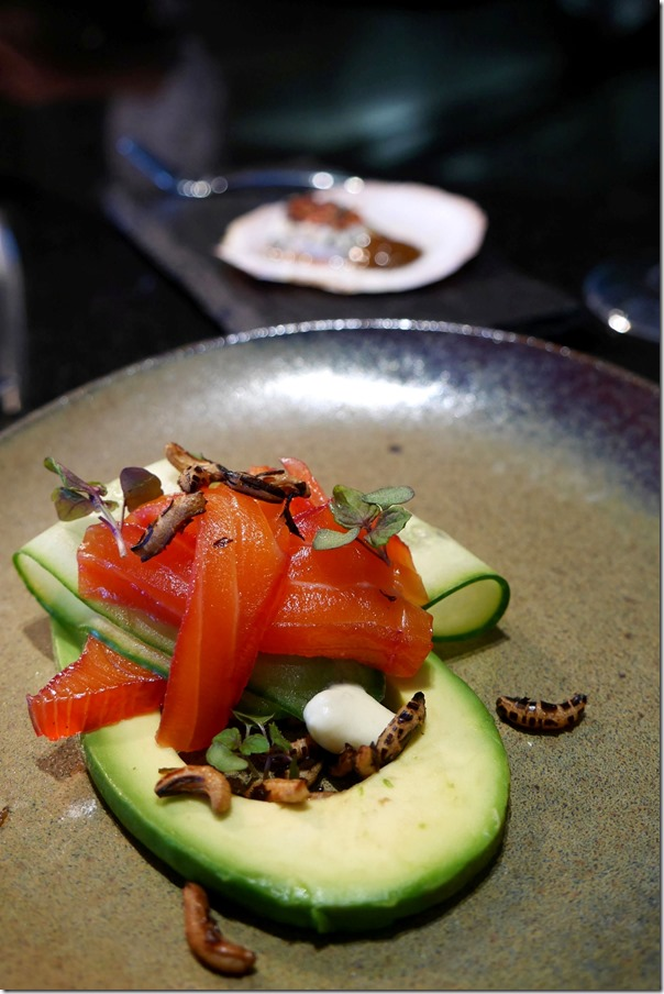 Beetroot and gin cured Mount Cook salmon, cucumber, avocado, puffed rice, horse radish