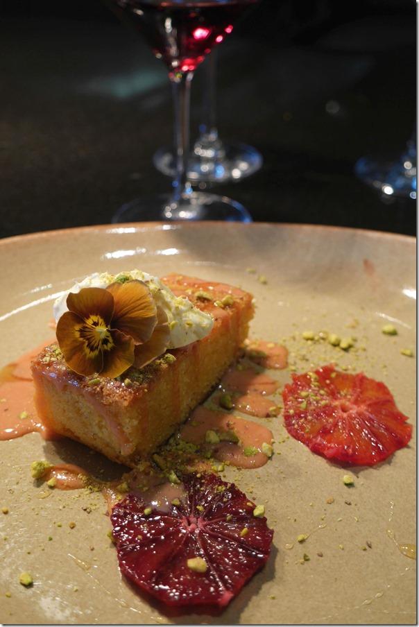 Orange blossom and polenta cake, blood orange curd, crème fraîche, pistachio