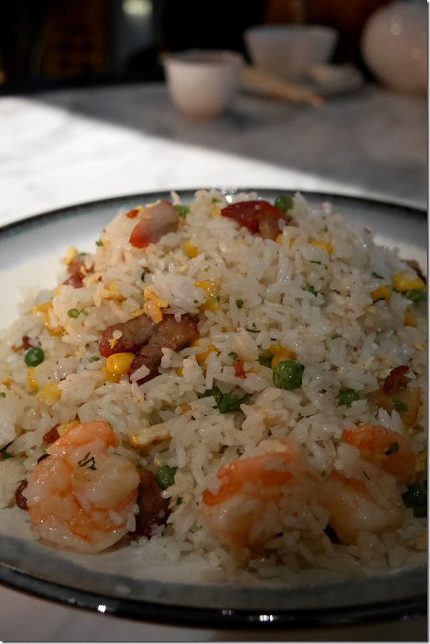 Chef special fried rice with pork, prawn and snow pea $22 (large)