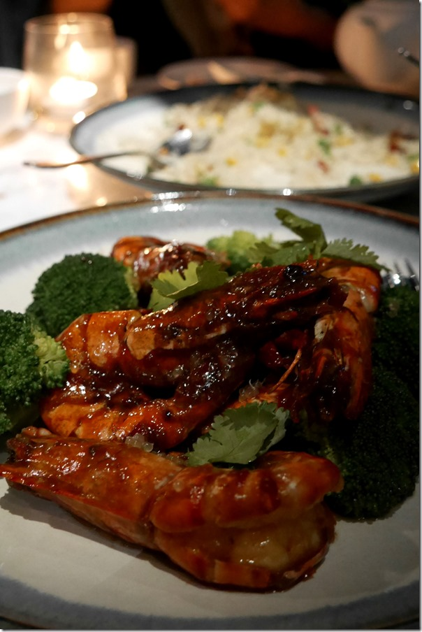 Wok fried king prawns with homemade XO sauce and finger lime topping $35