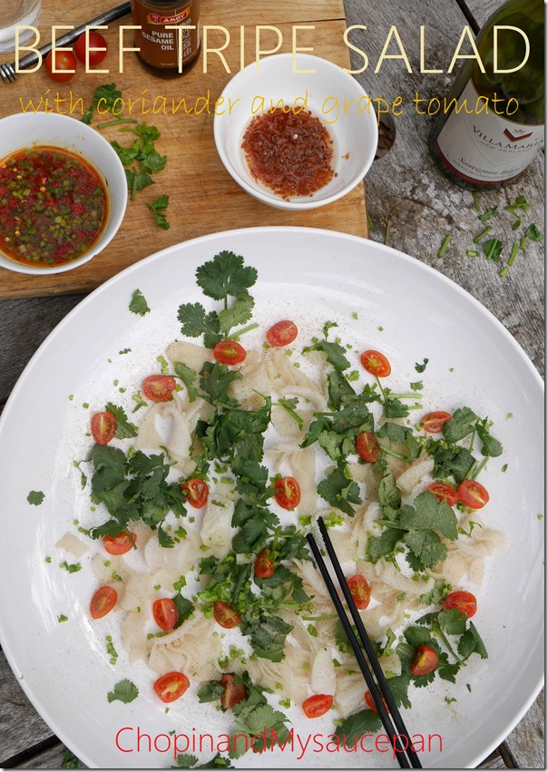 Beef tripe salad with coriander and grape tomato