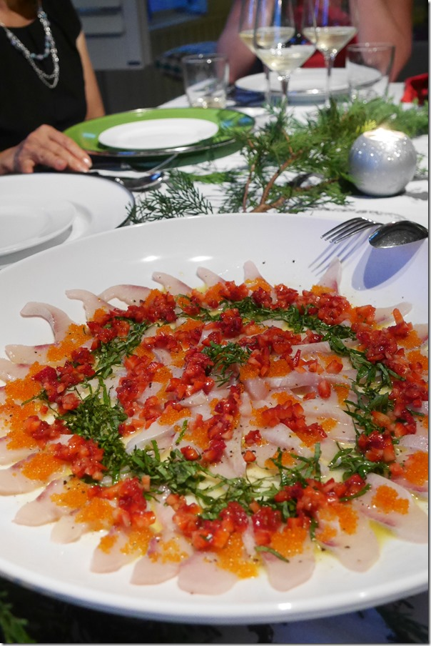 King fish carpaccio with flying fish roe, strawberry, basil and verjuice dressing