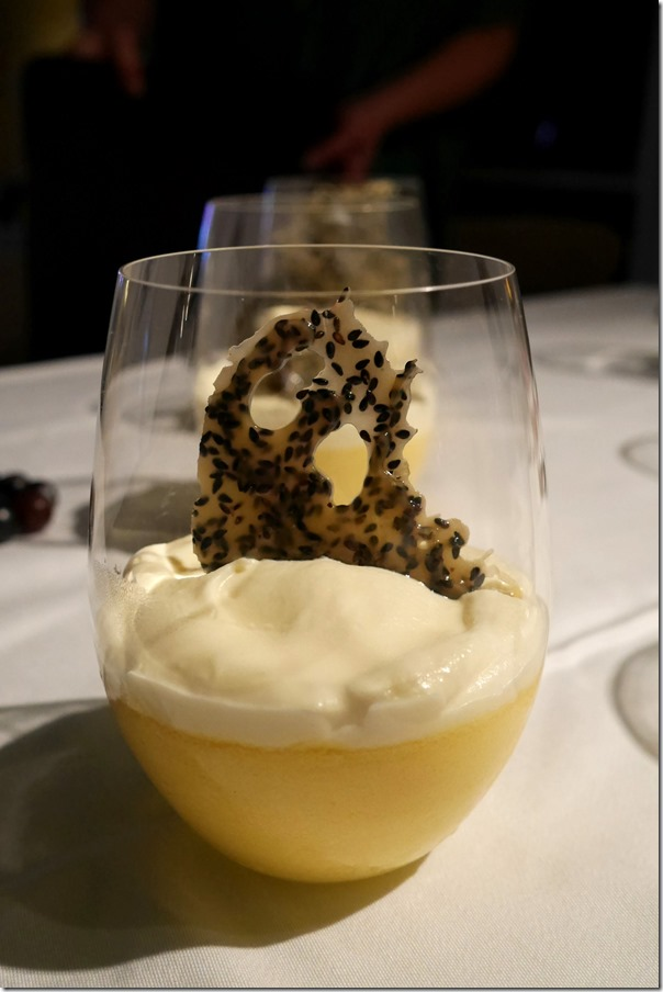 Mango mousse with condensed-milk chantilly and sesame nougatine