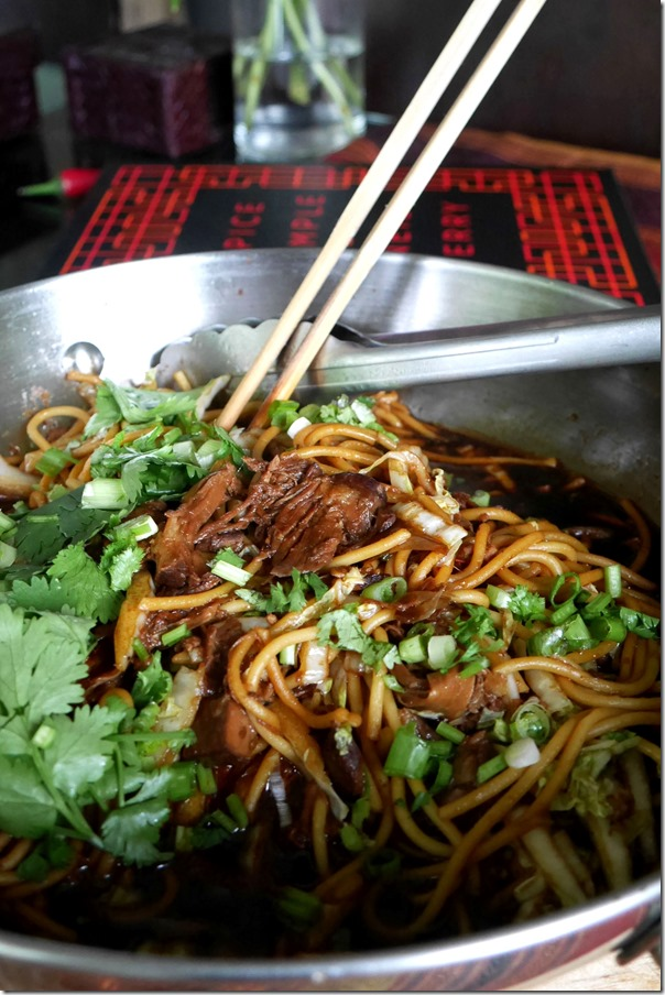 Noodles with braised beef brisket, chilli and Sichuan pepper