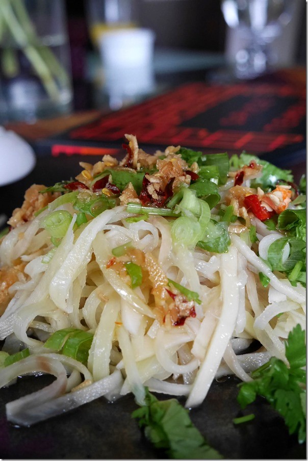 Cold shredded potato with chilli dressing