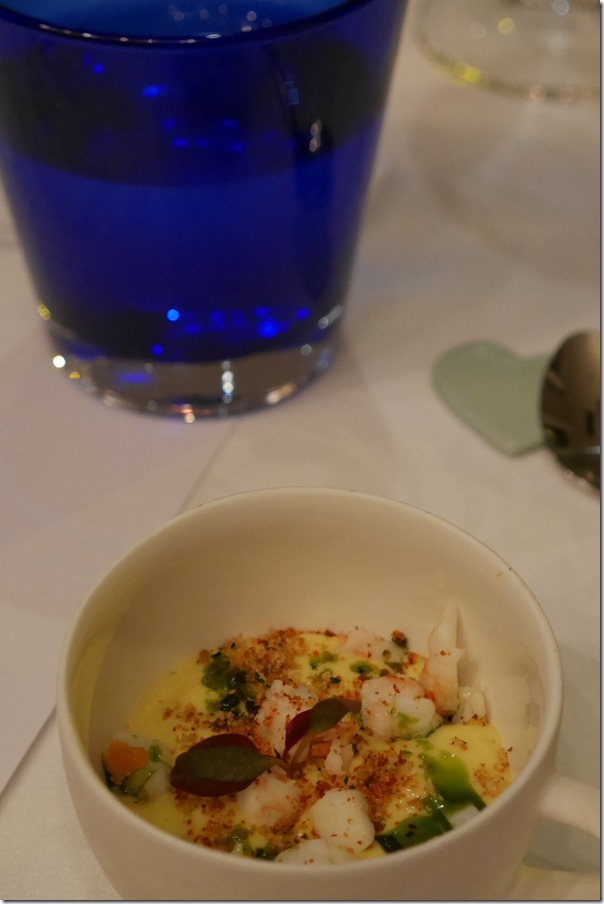 Amuse bouche - Corn velouté with prawns
