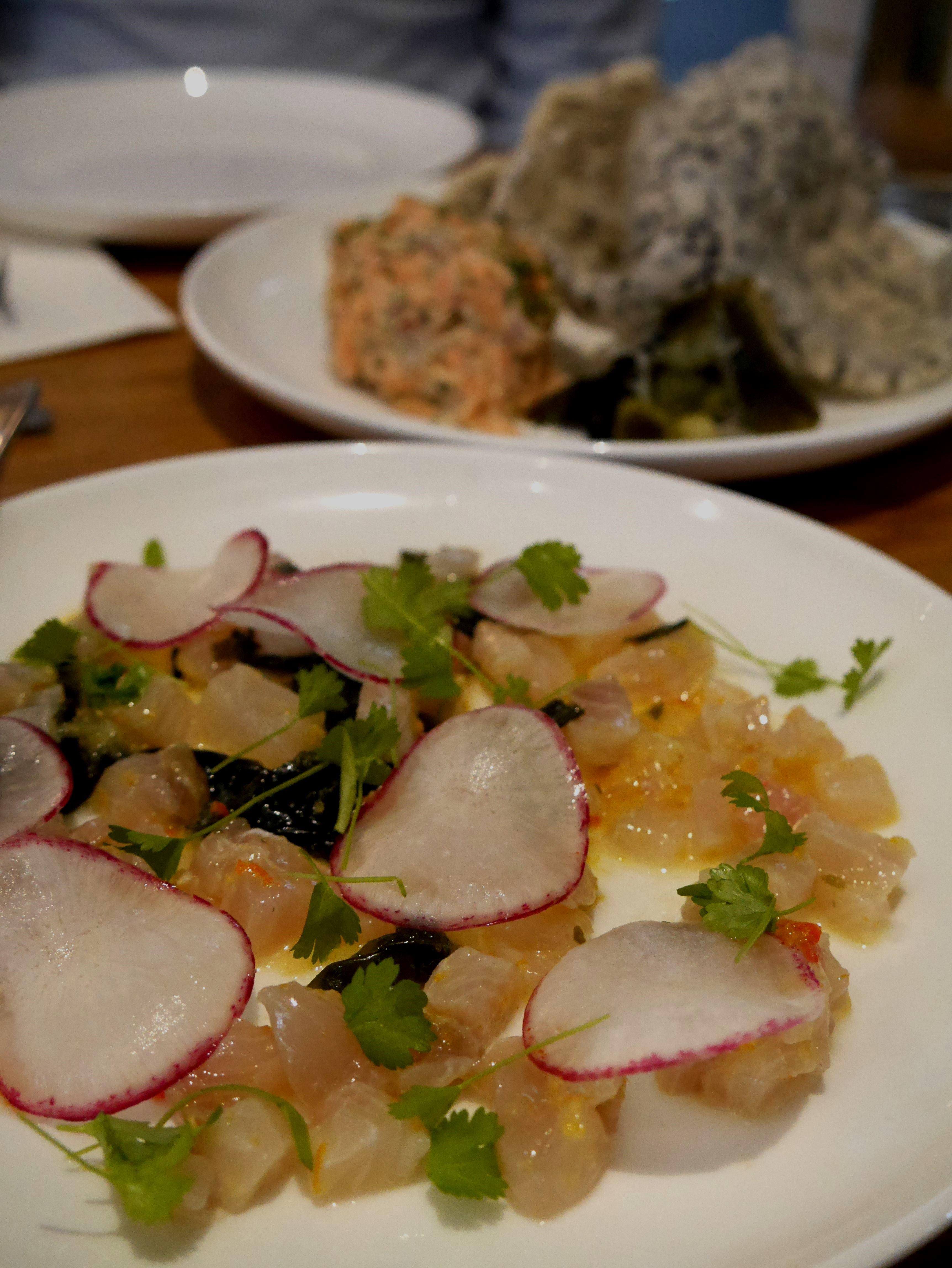 Kingfish tartare, seaweed and radish $17