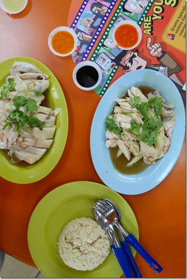 Tian Tian hainanese chicken (green plate) & Ah Tai hainanese chicken (blue plate)