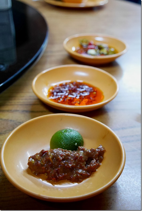 Sambal belachan calamansi, XO sauce and pickled chilli and soy