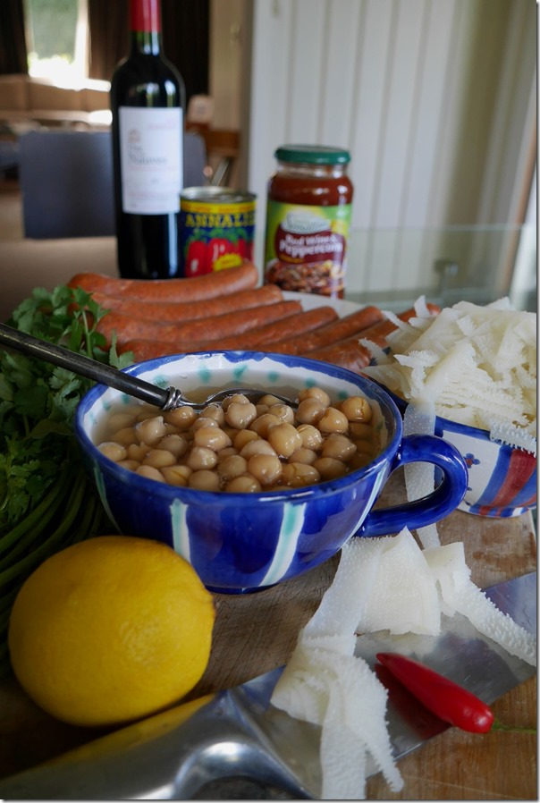 Key ingredients ~ chickpeas, chorizo and beef tripe