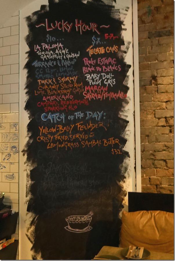 Blackboard specials at Lucky Suzie, Darlinghurst