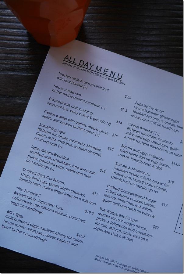 All day menu at Celsius Coffee Co., Kirribilli wharf