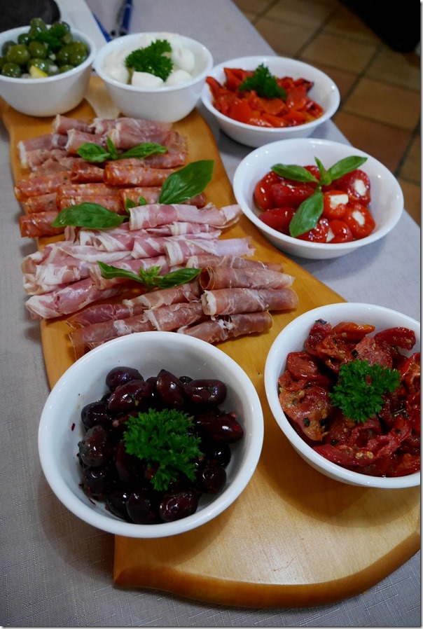 Antipasto ~ olives, sundried tomatoes, stuffed peppers, grilled capsicum, bocconcini, salami, prosciutto and pancetta