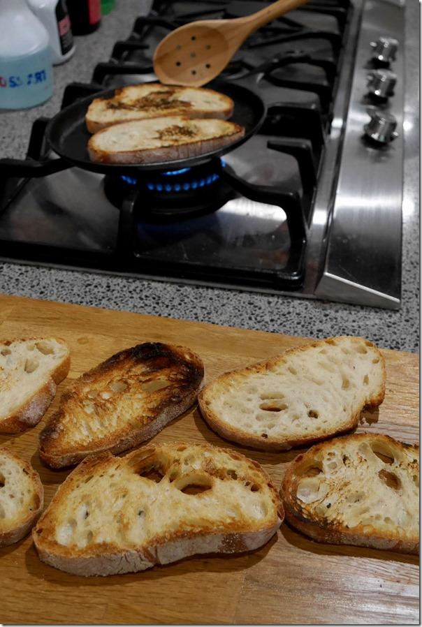 Toasting sourdough for bruschetta