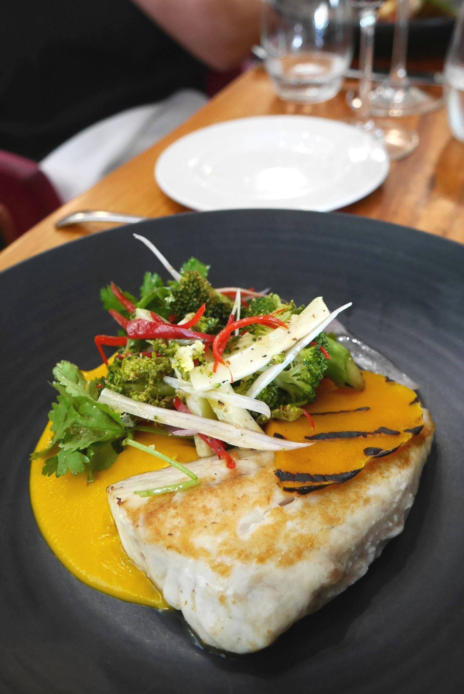 Grilled goldband snapper, coconut, pumpkin, carrot, broccoli, coriander $51