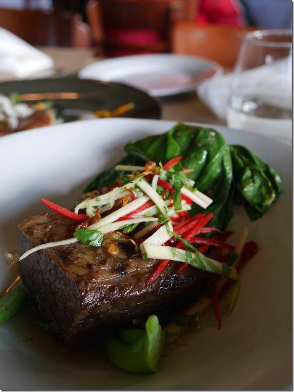 Slow-cooked beef short rib, pho, kai-lan, green mango $39