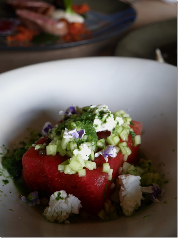 Compressed watermelon, lime, chevre, shiso $13