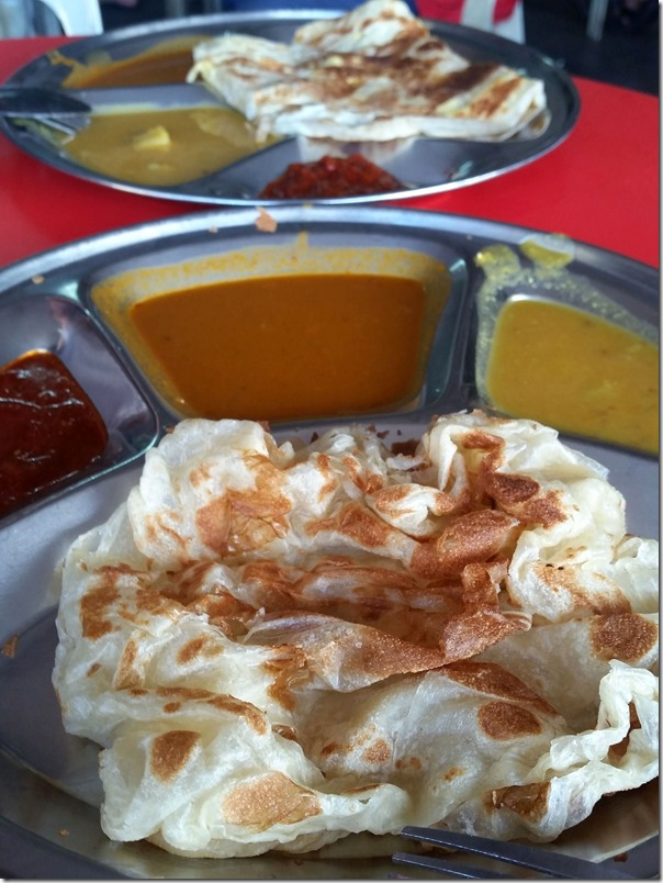 Roti canai with sambal, fish curry sauce and dahl RM2.50 / A$075