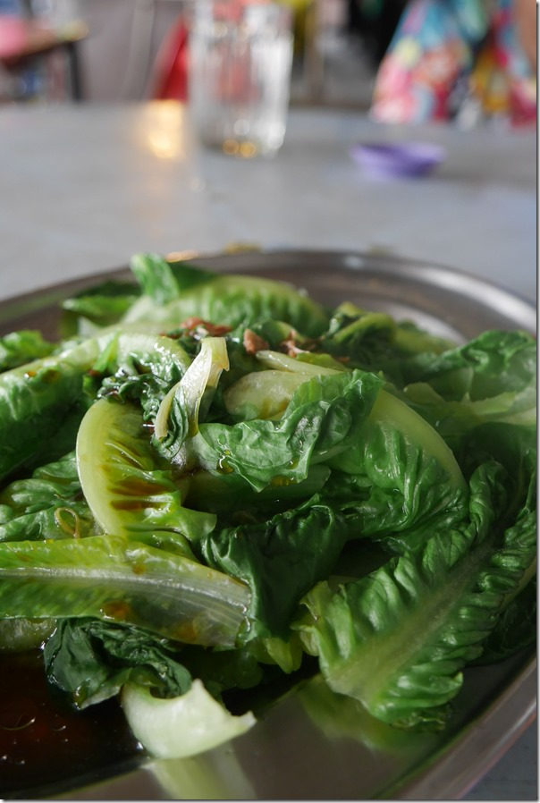 Blanched yow mak cos lettuce with soy sauce RM8 / A$2.40
