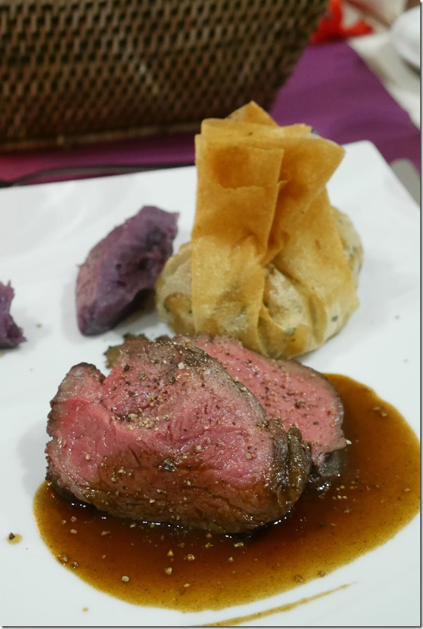 Beef fillet, filo parcel and purple mash