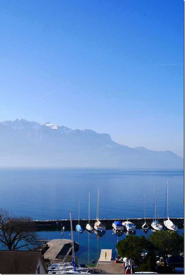 View of Lake Geneva from our hotel room