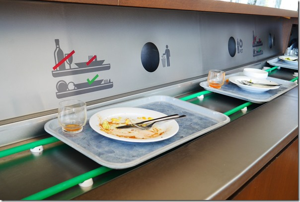 Conveyor system for used plates and utensils