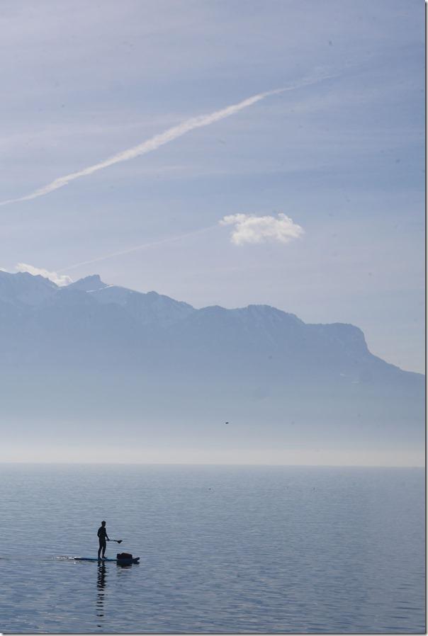 Paddleboarding in Lake Geneva