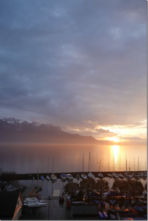 Sunset view over Lake Geneva from our hotel room