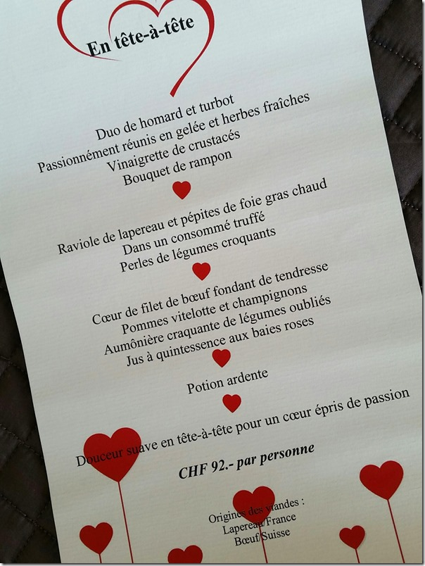 St. Valentine's Day dinner menu at Restaurant L'Olivier