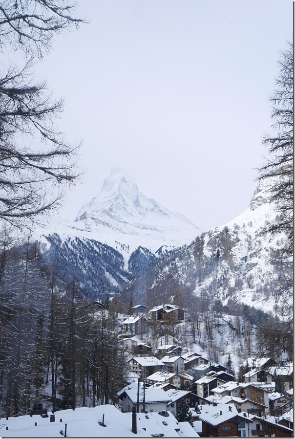 A glimpse of the iconic Matterhorn and alpine village in the foreground